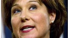 Premier Christy Clark told businessmen that voters will have a choice between a government that looks after their money and respects taxpayers and an NDP government that will do the opposite by increasing the deficit and raising taxes. (Darryl Dyck/The Canadian Press)