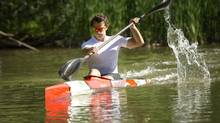 Adam van Koeverden trains at the Burloak Canoe Club in Oakville. He will be competing in the 1,000 metre race. (Kevin Van Paassen/The Globe and Mail)