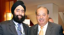 Canadian entrepreneur Ash Singh, left, at the Forbes Global CEO Conference in Sydney with Carlos Slim, the Mexican billionaire who by some calculations is the world's richest man.