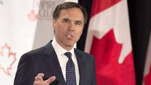 Finance Minister Bill Morneau addresses The Canadian Club of Toronto and The Empire Club regarding Budget 2017 in Toronto, on March 24, 2017. (Frank Gunn/THE CANADIAN PRESS)
