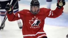 Connor McDavid celebrates his go-ahead goal against the USA (Frank Gunn/The Canadian Press)