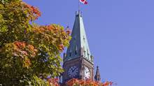 Leaves turn colour on a maple tree near the Peace Tower in Ottawa on Sept. 4, 2009. (Sean Kilpatrick)