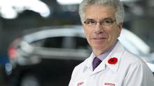 Honda Canada president and CEO Jerry Chenkin is seen at the auto maker's plant in Alliston, Ont. The company announced Tuesday that Chenkin will retire in April. (Kevin Van Paassen For The Globe and Mail)