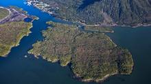 An aerial view of Lelu Island near Prince Rupert, B.C. TransCanada's North Montney Mainline would help supply a proposed Pacific Northwest LNG project on the island. (www.lonniewishart.com)