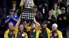 Northern Ontario skip Brad Jacobs celebrates his teams win over Manitoba following the gold medal draw at the Tim Hortons Brier in Edmonton, Alta. Sunday, March 10, 2013. (JONATHAN HAYWARD/THE CANADIAN PRESS)