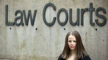 Skier Lindsey Van in front of the Vancouver court house, April 20, 2009. (John Lehmann/The Globe and Mail)