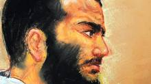 In this courtroom drawing by artist Janet Hamlin, reviewed by the US military, Canadian-born accused terrorist Omar Khadr attends a pre-trial session in Camp Justice on the U.S. Naval Base in Guantanamo Bay, Cuba, Friday, Dec. 12, 2008. (Janet Hamlin/Janet Hamlin/AP)