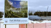 Construction at the Fort McKay First Nation outdoor amphitheatre, which will seat 1,800 people at completion next year. (Kelly Cryderman/The Globe and Mail)