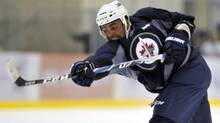 Winnipeg Jets player Dustin Byfuglien on Sept. 17, 2011. (Fred Greenslade/Reuters/Fred Greenslade/Reuters)