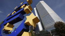 File picture shows a huge Euro logo in front of the headquarters of the European Central Bank (ECB) in Frankfurt. (RALPH ORLOWSKI/REUTERS)