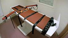 This photo shows a table used in the administering of lethal injections at the Colorado State Penitentiary in Canon City. A Colorado high court overturned a jury's decision to execute convinced murderer Robert Harlan because two jurors had discussed biblical teaching during the penalty phase of his trial. (David Zalubowski/The Associated Press)