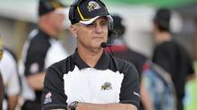 Hamilton Tiger-Cats  head coach George Cortez looks on from the sideline during the first half of their CFL football game against the Saskatchewan Roughriders in Hamilton, June 29, 2012.  (Reuters)
