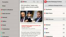 A composite of screenshots from The Globe and Mail News app for Android devices, showing an article page as well as our section and customizable homescreen options. (Screenshot)