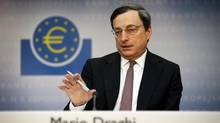 European Central Bank (ECB) president Mario Draghi sees signs of stabilization in the euro zone and expects a recovery this year. (KAI PFAFFENBACH/REUTERS)