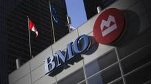 The logo for the Bank of Montreal is seen at its branch in Toronto. Wealthsimple says that among major financial institutions, Bank of Montreal has the slowest transfer time – 24 days. However, BMO disputes the figure. (Mark Blinch/Reuters)