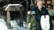 "Edward Loyst's ""magic arch,"" left, an installation on his cottage property placed at the edge of a forest and leading nowhere; he tells visiting children that, if they pass under it, they will find a 'wonderland that only children can see.' At right, Edward Loyst holding some of his sculptures, including a stone mask and an eagle-like creature. (COURTESY OF EDWARD LOYST)"