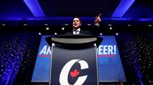 Andrew Scheer speaks after winning the leadership at the Conservative Party convention in Toronto on May 27, 2017. (MARK BLINCH/REUTERS)