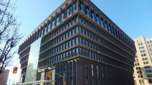 The removal of hoardings a few weeks ago reveal the $100-million facelift on Toronto's unique upside-down pyramid at 222 Jarvis St. The newly-greened office building is now destined for a sale/leaseback. (Wallace Immen/The Globe and Mail)