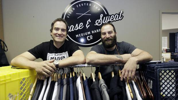 Small Business Owners (from left) Andrew Dallman and Cam Dobranski with their Medium Rare Chef Apparel in Calgary, Alberta. (LAURA LEYSHON/THE GLOBE AND MAIL)