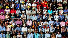 The home crowd reacts as Rafael Nadal of Spain scores a point against Roger Federer of Switzerland in their final match during the Mutua Madrilena Madrid Open tennis tournament at the Caja Magica on May 16, 2010 in Madrid. (Jasper Juinen/2010 Getty Images)