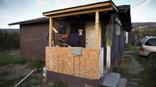 A pickers shack on S. Sundher Orchards farm in Kelowna September 13, 2012. (John Lehmann/The Globe and Mail)