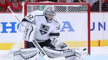 Los Angeles Kings goalie Jonathan Quick (32) makes a save during the second period in game seven of the Western Conference Final of the 2014 Stanley Cup Playoffs against the Chicago Blackhawks at the United Center on June 1, 2014. (Dennis Wierzbicki/USA Today Sports)