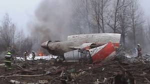 This image from Polish Television's TVP via APTN shows a firefighter walking near some of the wreckage at the crash site where Polish President Lech Kaczynski, his wife and some of the country's most prominent military and civilian leaders died Saturday April 10, 2010 along with dozens of others when the presidential plane crashed as it came in for a landing in thick fog in near Smolensk in western Russia.
