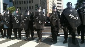 Riot police line on Elm Street