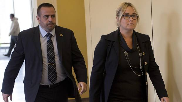Isabelle Gaston, ex-wife of Guy Turcotte, arrives to testify at the courthouse in Saint Jerome, Que., on Monday. (Ryan Remiorz/THE CANADIAN PRESS)