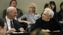 David Mirvish and Frank Gehry explain their development project on King Street at a meeting of the Toronto Community Council on Nov. 19, 2013. (FERNANDO MORALES/THE GLOBE AND MAIL)