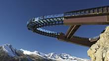 The glass-floored observation platform hovers above Sunwapta Valley and is the grand finale of the Glacier Skywalk interpretive experience. (Brewster Travel Canada)