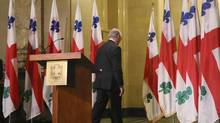 Montreal mayor Gérald Tremblay walks away after he announces his resignation during a news conference in Montreal, Quebec, November 5, 2012. (Reuters)