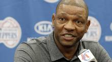 Former Boston Celtics head coach Doc Rivers talks at a press conference in Los Angeles on Wednesday, June 26, 2013. (Nick Ut/AP)