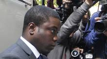 Former trader Kweku Adoboli, arrivies at City of London Magistrates' Court in London Thursday Sept. 22, 2011. (Sang Tan/AP)