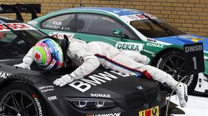 Canadian Bruno Spengler celebrates his DTM win.