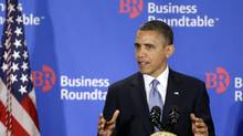 President Barack Obama gestures as he speaks about the 'fiscal cliff' at the Business Roundtable, an association of chief executive officers, in Washington, Dec. 5, 2012. (Charles Dharapak/AP)