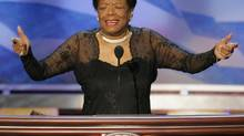 Poet and activist Maya Angelou speaks before delegates during the second night of the 2004 Democratic National Convention at the FleetCenter in Boston, Massachusetts in this July 27, 2004 file photo. (GARY HERSHORN/REUTERS)