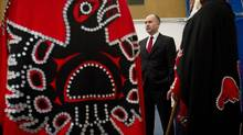 Haisla First Nation Chief Councillor Ellis Ross, centre, during the opening day of hearings for the Enbridge Northern Gateway Project in Kitimaat Village, B.C., on Jan. 10, 2012. (DARRYL DYCK/THE CANADIAN PRESS)