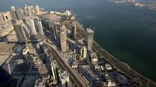 The Qatar skyline is seen in this aerial view taken December 20, 2008. (FADI AL-ASSAAD/Reuters)