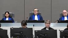 Presiding Judge Marc Perrin de Brichambaut, Judge Olga Herrera-Carbuccia, and Judge Peter Kovacs in the courtroom of the International Criminal Court, as the ICC delivers its order for reparations to victims in the case The Prosecutor v. Germain Katanga at a public hearing, in The Hague, Netherlands March 24, 2017. (UNITED PHOTOS/REUTERS)