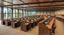 "The new media centre at Augusta National contains a working ""arena"" that looks over the driving range through 30-foot windows. (MillerBrown/Augusta National)"