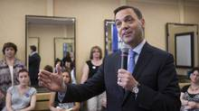 Ontario PC Leader Tim Hudak campaigns in Pickering, Ontario, on Tuesday May 27, 2014. (Chris Young/THE CANADIAN PRESS)