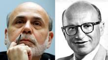 U.S. Fed chairman Ben Bernanke, left, and economist Milton Friedman. (Larry Downing/Reuters and Tribune/AP)