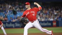 J.A. Happ of the Toronto Blue Jays delivers a pitch in the first inning during MLB game action against the Baltimore Orioles at Rogers Centre on April 16, 2017. (Tom Szczerbowski/Getty Images)