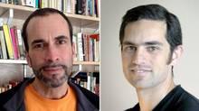 Undated photos of Toronto professor and filmmaker John Greyson, left, and London, Ont., emergency-room doctor Tarek Loubani (facebook.com and emlondon.ca)