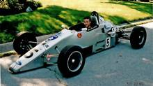 James Hinchcliffe, 14 at the time, sitting in the Formula Ford outside his family's Oakville, Ont., house. (Courtesy Jeremy Hinchcliffe)