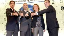 (From L-R) Former ice hockey players Brendan Shanahan, Scott Niedermayer, Geraldine Heaney and Chris Chelios pose for photos at the Hockey Hall of Fame in Toronto, November 8, 2013. Shanahan, Niedermayer, Chelios, Heaney and late ex-coach Fred Shero were the five inductees for the 2013 class of the Hockey Hall of Fame. (AARON HARRIS/REUTERS)
