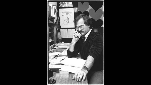 Alderman Jack Layton in his office at City Hall on Jan. 5, 1983.