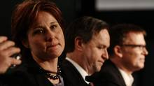 British Columbia Liberal leadership candidates Christy Clark, from left, George Abbott and Kevin Falcon look on during a debate at the B.C. Liberal Party Convention in Vancouver, B.C., on Saturday February 12, 2011. (Darryl Dyck/The Canadian Press/Darryl Dyck/The Canadian Press)