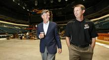 Former Manitoba Premier Gary Doer walks down memory lane with Mark Chipman, Chairman of the True North, as they walk through the MTS Centre Wednesday, September 2, 2009 and remember the struggles they faced when they were building the arena in downtown Winnipeg. (JOHN WOODS/John Woods/The Globe and Mail)